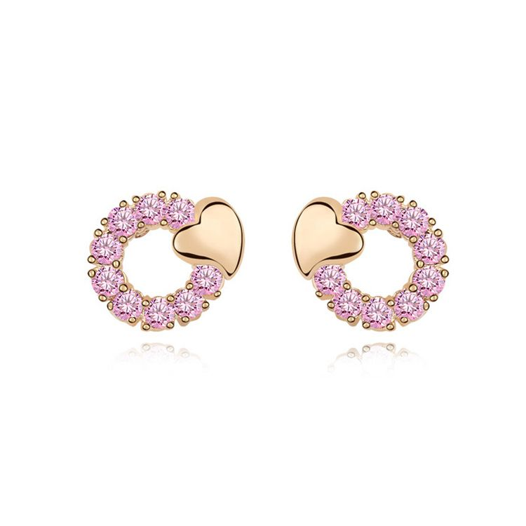 Alloy  Kiss My Heart Cubic Zirconia Stud Earrings  Pink  11248