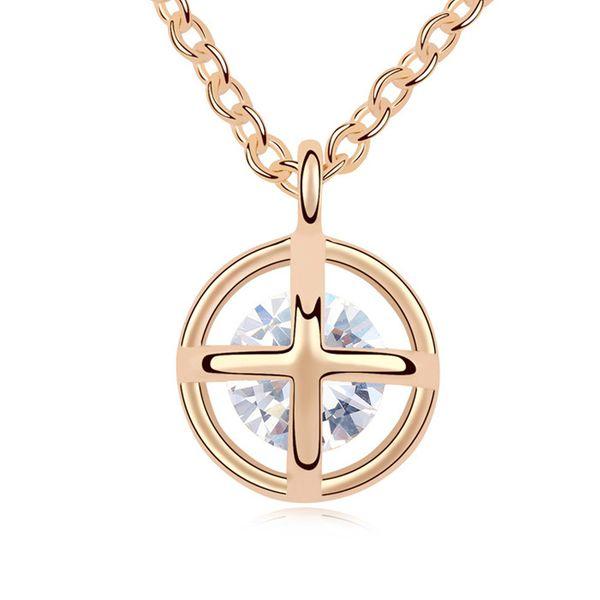 Alloy - Happiness prayer necklace zircon ( White ) 11207