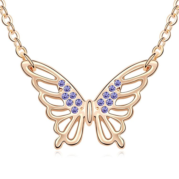 Austrian imitated crystal necklace - Butterfly Yin ( Tanzanite + Champagne Alloy ) 11191