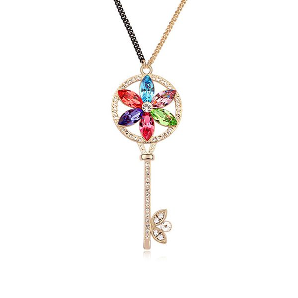Austrian imitated crystal sweater chain - Sunflower Key ( Color + Champagne Alloy ) 11147