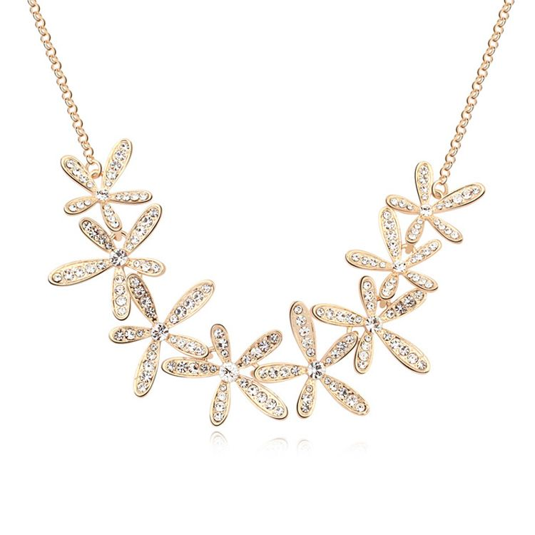 Austrian imitated crystal necklace - Smile blossoming ( White + Champagne Alloy ) 11145