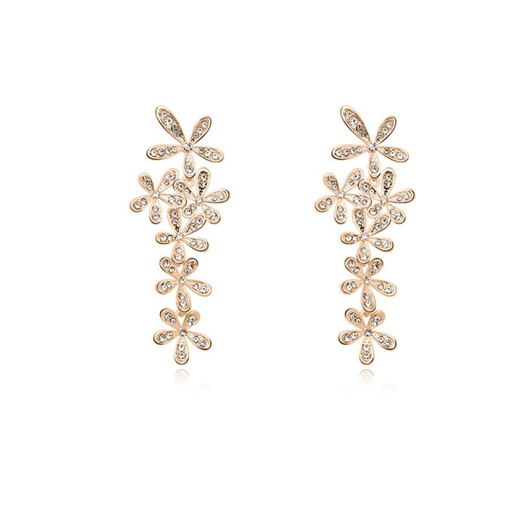 Austrian imitated crystal earrings - Smile blossoming ( White + Champagne Alloy ) 11144