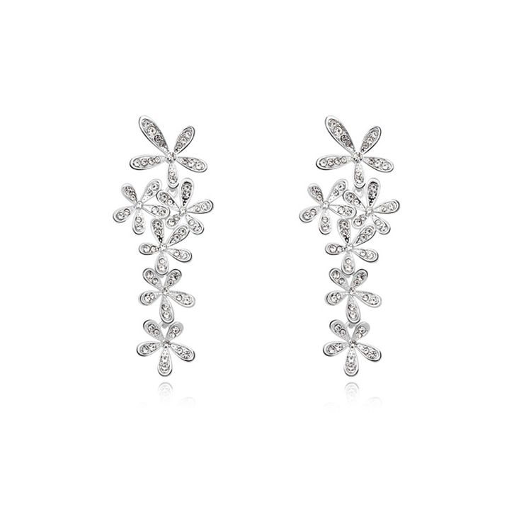 Austrian imitated crystal earrings - Smile blossoming ( White ) 11143