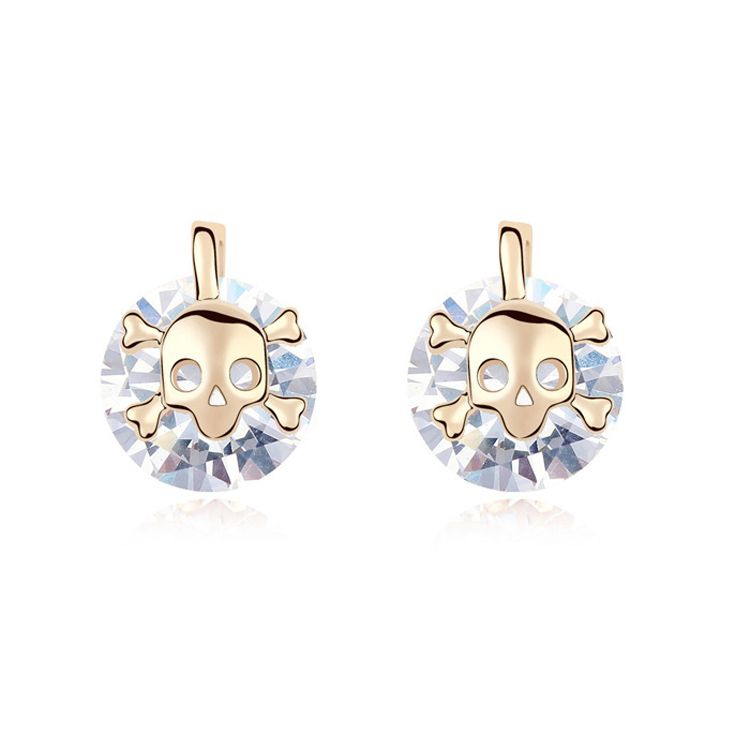 Alloy - Skull Wizard zircon earrings ( White ) 11082
