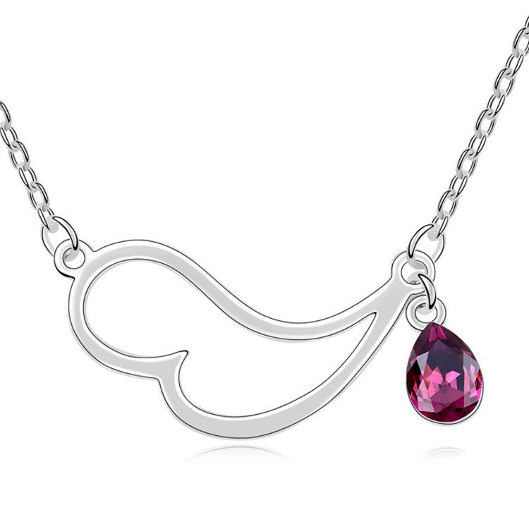 Austrian imitated crystal necklace  Half of the heart  Purple  11046
