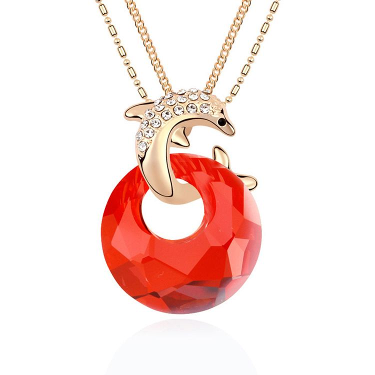 Austrian imitated crystal sweater chain - Dolphin Bay ( Imitated crystal Red Rock + Champagne Alloy ) 10991