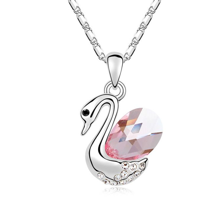Austrian imitated crystal necklace - Water Dance Swan ( Light Rose ) 10952