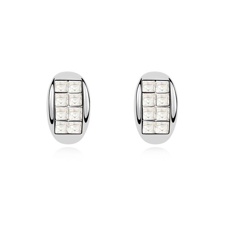 Austrian imitated crystal earrings  Gentleman a promise  White  10925