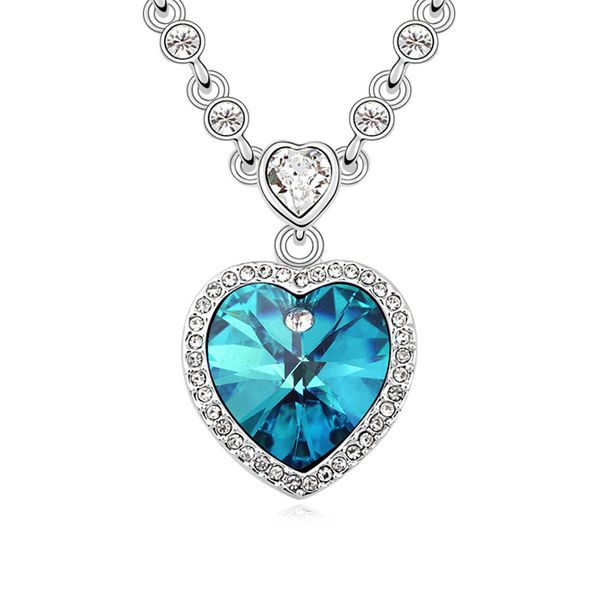 Austrian imitated crystal necklace - Heart with promise ( Color Blue ) 10800
