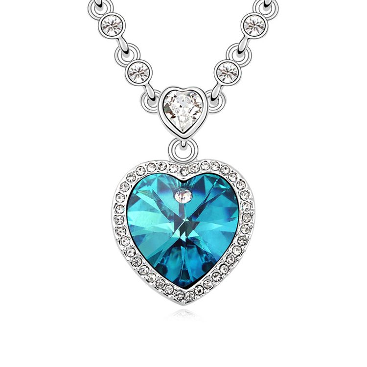 Austrian imitated crystal necklace  Heart with promise  Color Blue  10800
