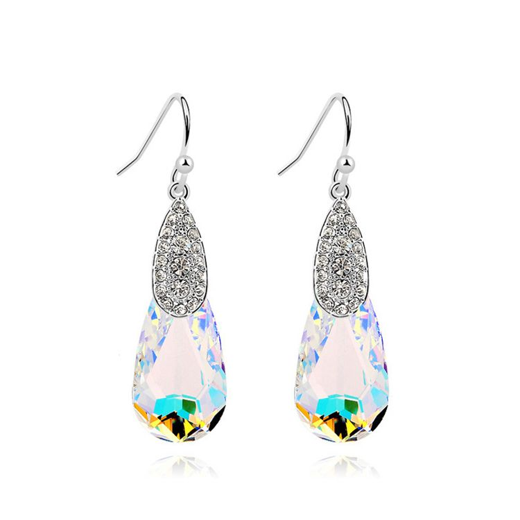 Austrian imitated crystal earrings - Pondered month ( Color White ) 10749