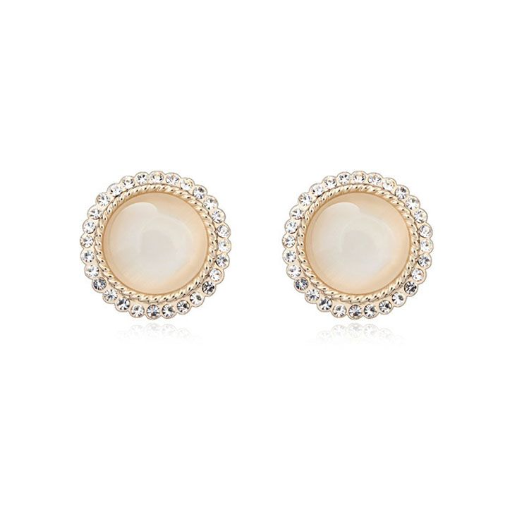 Alloy - Crossroad Love opal earrings ( White ) 10707