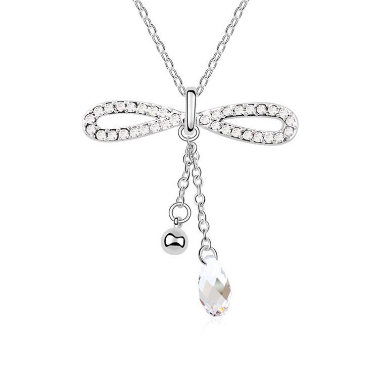 Austrian imitated crystal necklace - Love knot ( White ) 10704