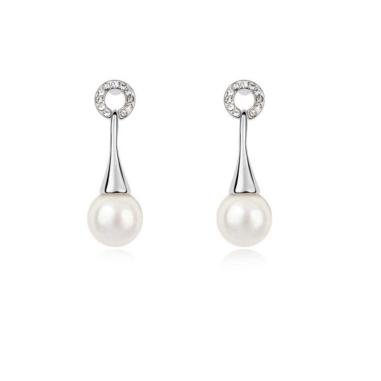 Austria Beads Earring  Athena  White  10691