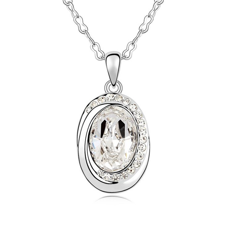 Austrian imitated crystal necklace  Declaration on happiness  White  10639