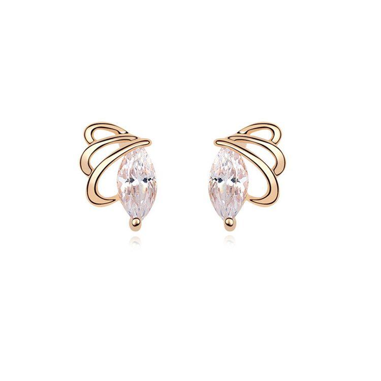 Alloy  Butterfly Dettol zircon earrings  White  10537