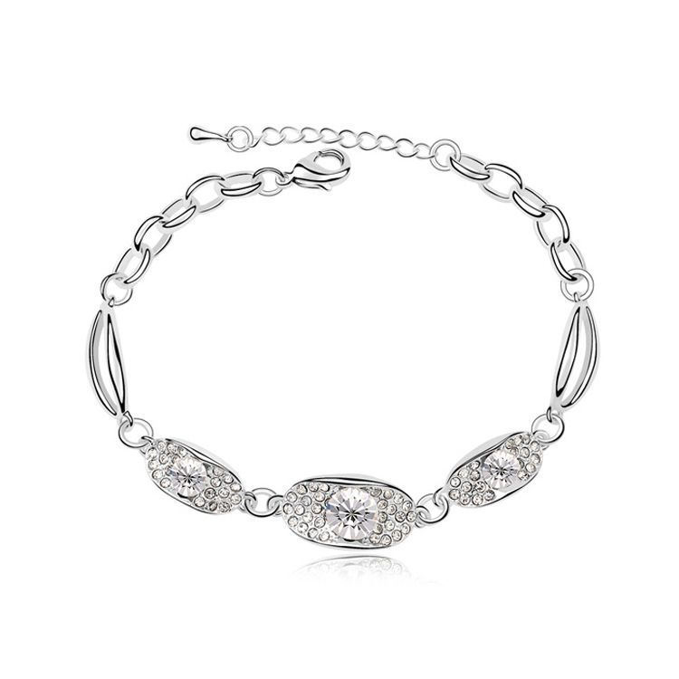 Austrian imitated crystal bracelet - Time stamp ( White ) 10479