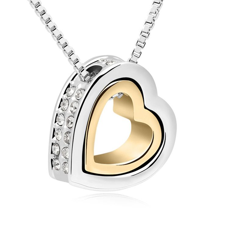Austrian imitated crystal necklace  Eternal love  White + 18K alloy  10477