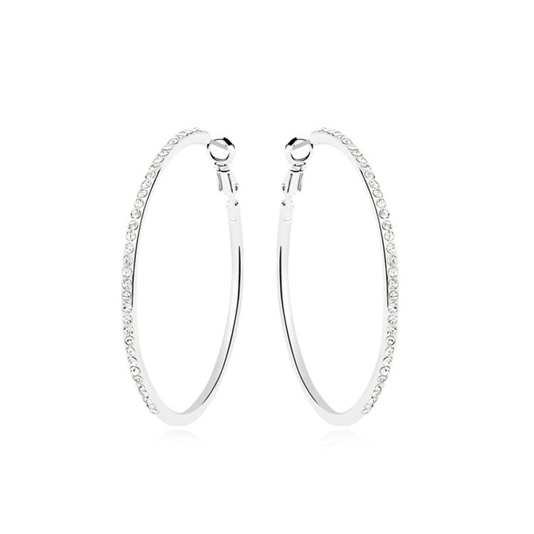 Austrian imitated crystal earrings  Circled happiness  White  10470