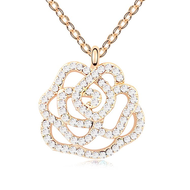 Austrian imitated crystal necklace  Rose Valley  White + Champagne Alloy  10466