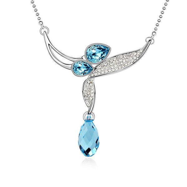 Austrian imitated crystal necklace - Light Mosaic language ( Navy blue ) 10421