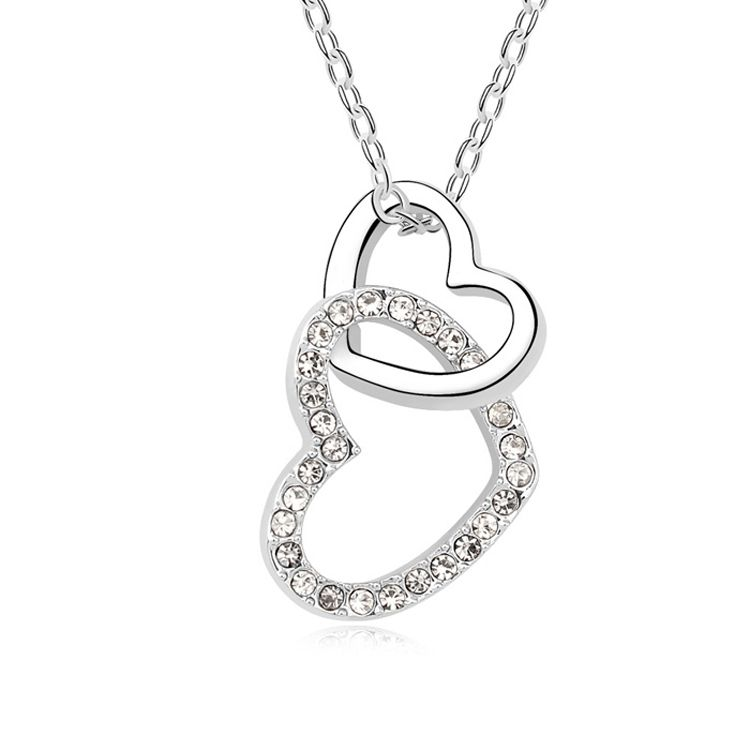 Austrian imitated crystal necklace - ECG heart ( White ) 10391