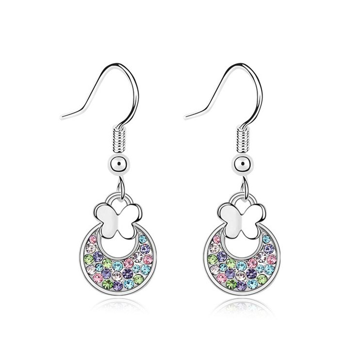 Austrian imitated crystal earrings - The butterfly aquatic ( Color ) 10385