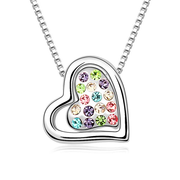 Austrian imitated crystal necklace - Two hearts with promise ( Color ) 10264