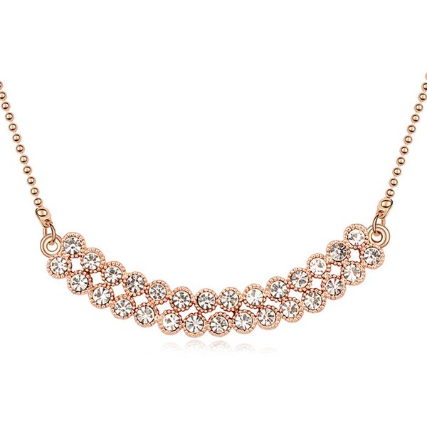 Austrian imitated crystal necklace - Love Sequel ( White + Rose Alloy ) 10220