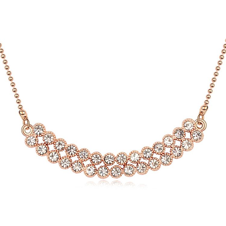 Austrian imitated crystal necklace  Love Sequel  White + Rose Alloy  10220