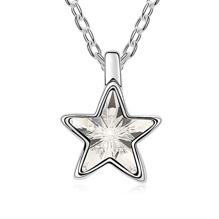 Austrian imitated crystal necklace  Pentacle  White  10078