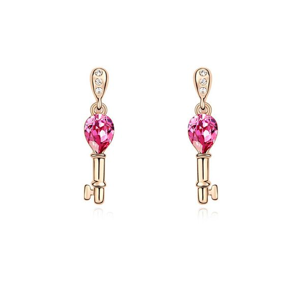 Austrian imitated crystal earrings - Open your heart ( Rose + Champagne Alloy ) 10055