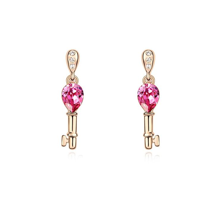 Austrian imitated crystal earrings  Open your heart  Rose + Champagne Alloy  10055