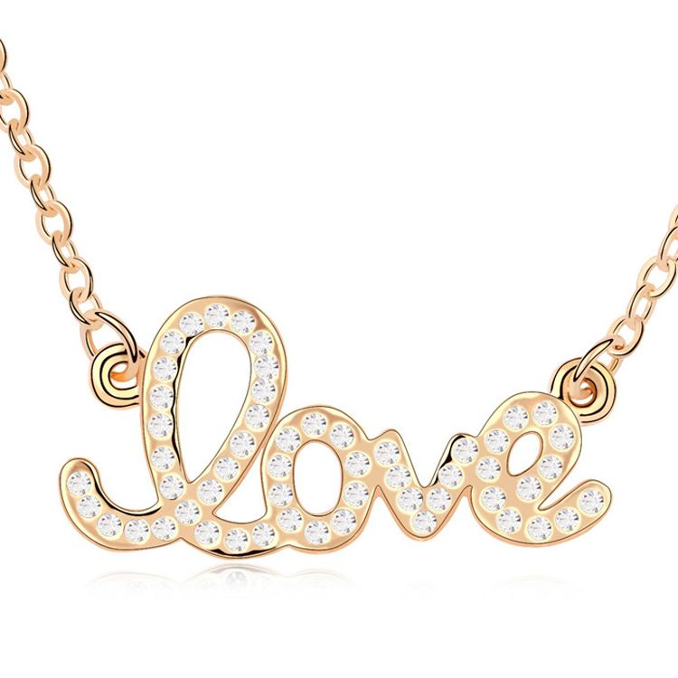 Austrian imitated crystal necklace - Forever love ( White + Champagne Alloy ) 9962
