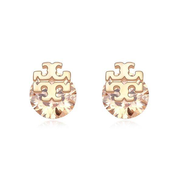 Alloy - Crossroads zircon earrings ( Champagne ) 9934