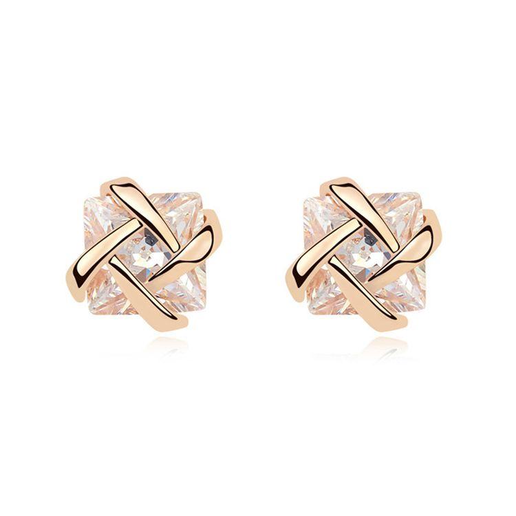 Alloy  Love cross zircon earrings  White  9924