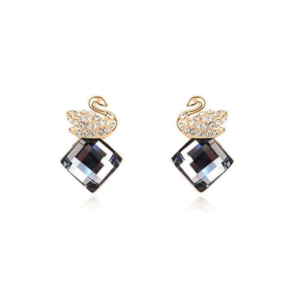 Alloy - Swan Love Boutique earrings ( Black Rhinestone ) 9896