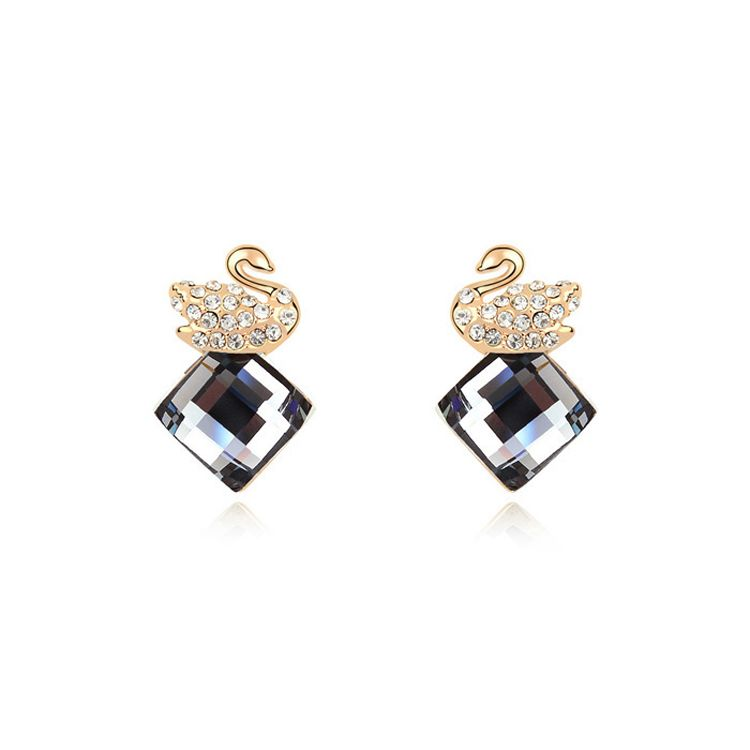 Alloy - Swan Love Boutique earrings ( Black Rhinestone ) 9896