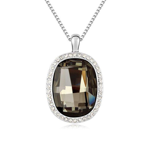 Austrian imitated crystal necklace - Love flowers in a mirror ( Black Rhinestone ) 9873