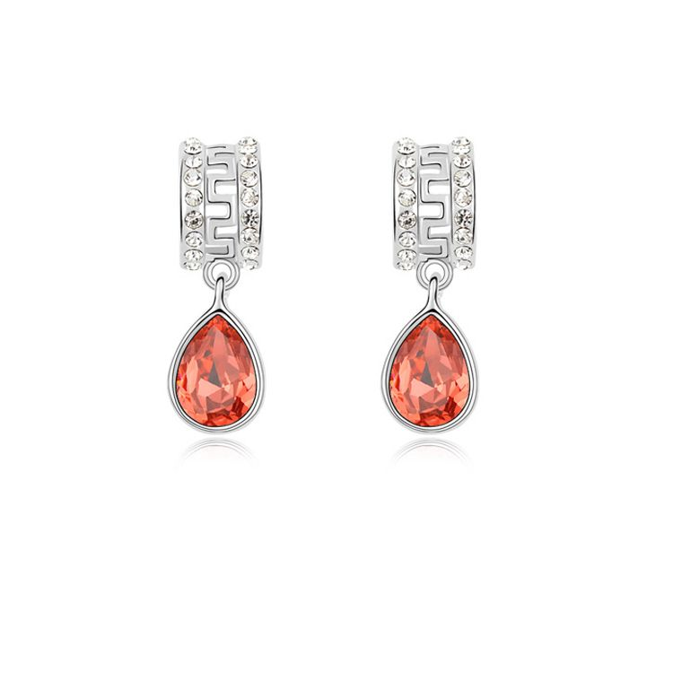 Austrian imitated crystal earrings - Silence ( Red water lilies ) 9865
