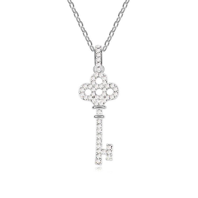 Austrian imitated crystal necklace - Honey Love Keys ( White ) 9770