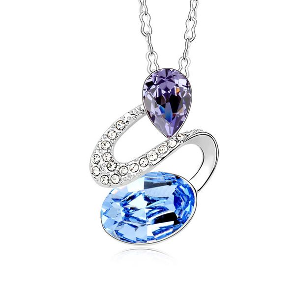 Austrian imitated crystal necklace - Watch Happiness ( Light Blue ) 9714