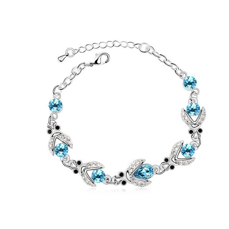 Austrian imitated crystal bracelet - Beetle ( Navy blue ) 9641
