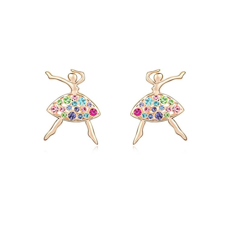Austrian imitated crystal earrings  After Zero Dance  Color + Champagne Alloy  9629