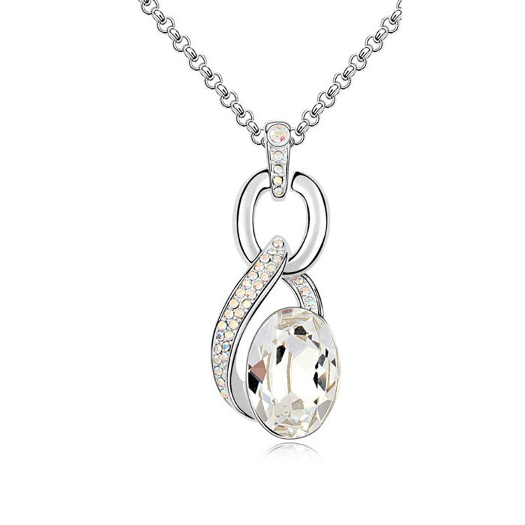 Austrian imitated crystal necklace  Crescent Lake  White  9564