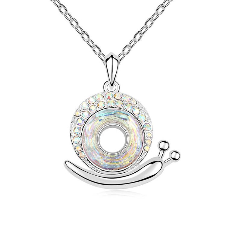 Austrian imitated crystal necklace  Snail wonderful love  Color White  9552