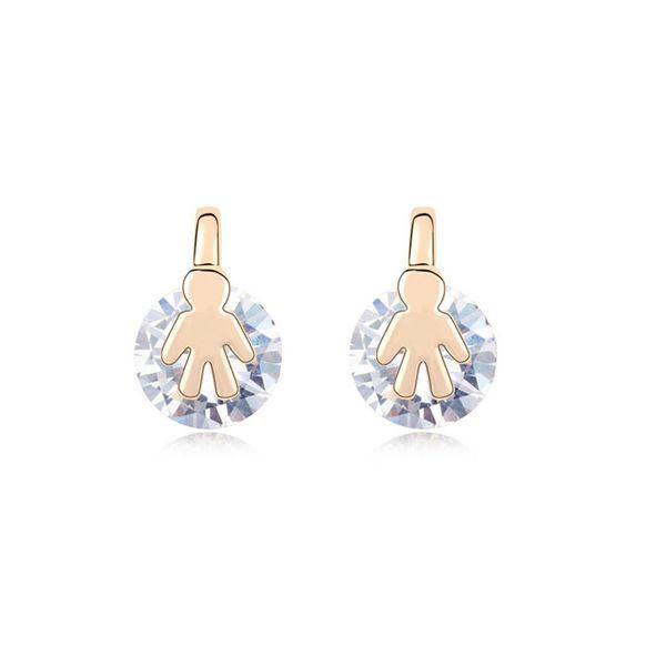 Alloy - Small broken child zircon earrings ( White ) 9337