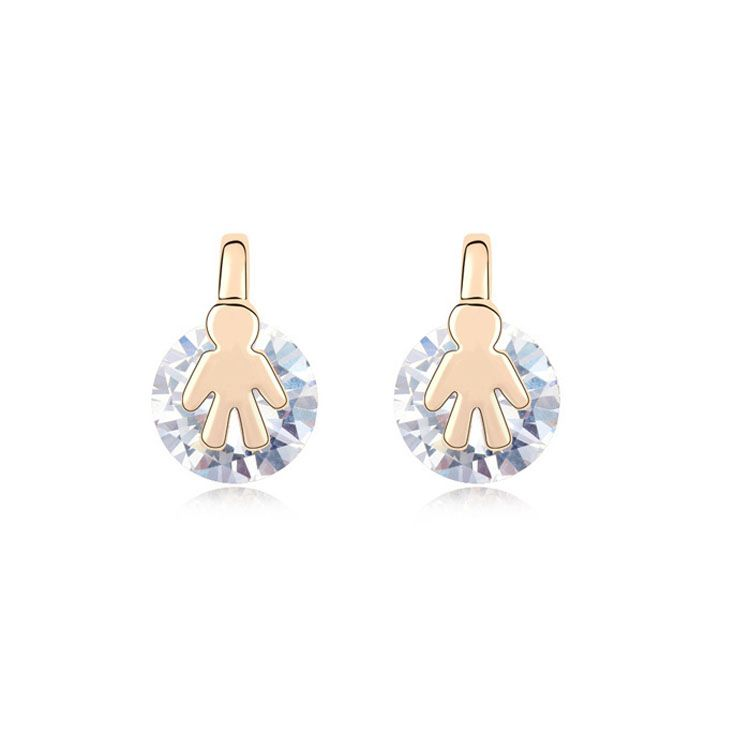 Alloy - Small broken child zircon earrings ( White ) 9337