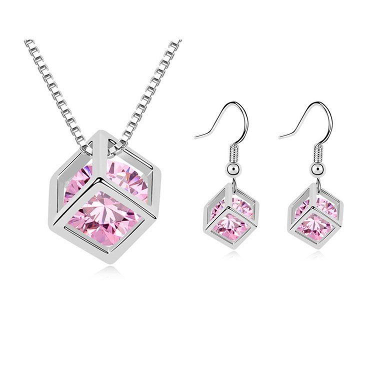 Alloy - Love Cubic Zirconia Set ( Pink ) 9333