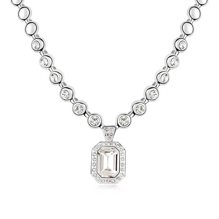 Austrian imitated crystal necklace - Rhine River ( White ) 9298